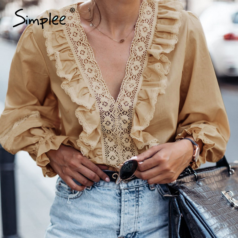 Simplee V Neck Ruffles Women Blouse Shirt Long Sleeve Hollow Out Embroidery Female White Tops Elegant Office Ladies Blouses 2020