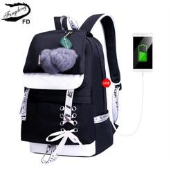FengDong mode noir rose étanche en nylon école sac à dos pour les filles style coréen sac à dos mignon nœud papillon enfants sacs d'école