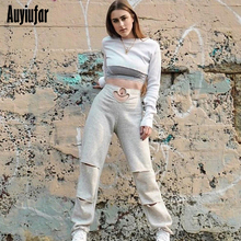 Auyiufar Solid Loose Trousers For Women Casual Streetwear Shredded Wide Leg Pants Fashion Hollow Out 2019 Autumn Female Joggers