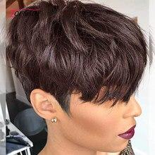 Pixie corte curto bob peruca de cabelo humano corte completo máquina feita nenhum laço perucas de cabelo humano para preto feminino remy cabelo brasileiro