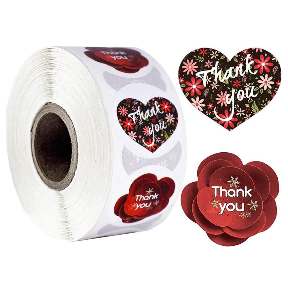 Круглые наклейки с надписью «спасибо», 500 шт., наклейки в виде цветов и сердечек для свадебных торжеств, канцелярские наклейки