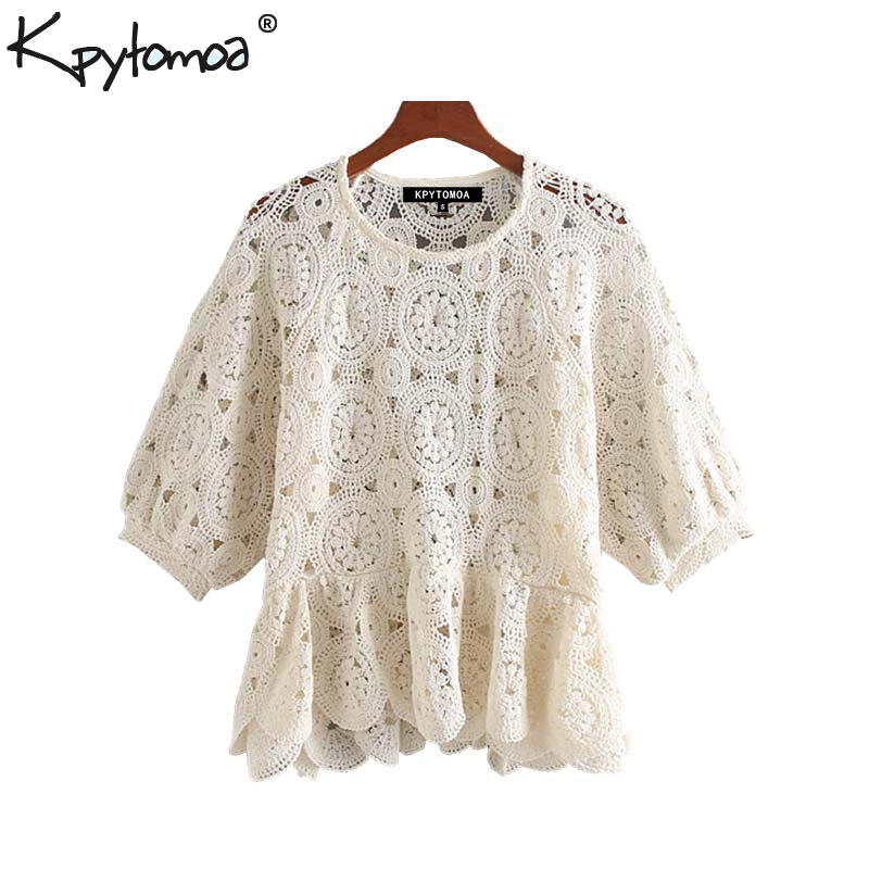 Vintage Stylish Hollow Out Ruffled Lace Blouses Women 2020 Fashion O Neck Half Sleeve See Through Female Shirts Blusas Chic Tops