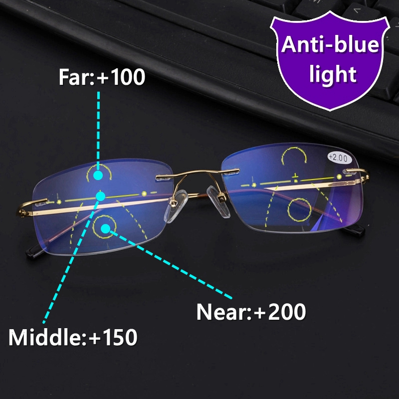High Quality Rimless Progressive Multifocal Reading Glasses Men Anti Blue Light Presbyopic Glasses Women Ultra Light Metal Gafas