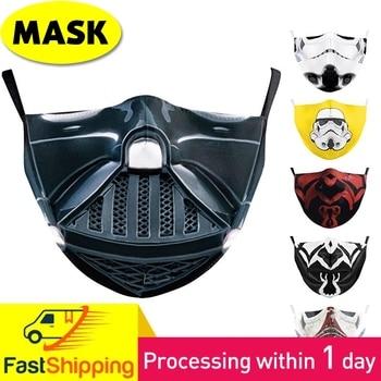 Reusable Kpop Half Face Cover Masks Fashion Adult Men Women Star War Cosplay Print Masque Adult Dustproof Washable Mascarillas half a war