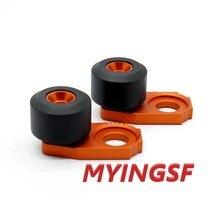 Regulador da motocicleta Cadeia Ajustador Sliders Para KTM EXC 125 200 250 300 380 400 450 520 525 Roda Traseira Protetor