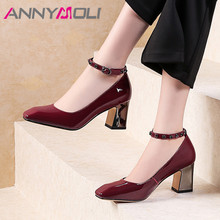 ANNYMOLI High Heels Women Pumps Patent Leather Chunky High Heels Party Shoes Buckle Square Toe Ankle Strap Shoes Lady Size 34-39 2015 plus size sweety women sandals wedges high heels patent leather t strap ankle buckle strap chunky rivets decorated summer