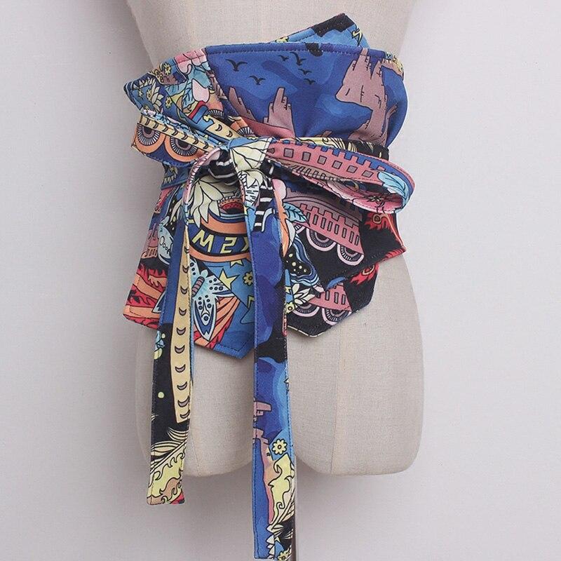 Women Vintage Abstract Print Waist Belt Female Summer High Waist Clothing Shirt Wide Belt Long Belts Womens Decoration New