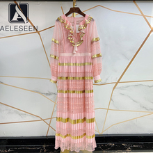 Pink Dress Mesh Ruffles Plus-Size Long-Lantern-Sleeve Pleated Summer XXL AELESEEN Tassel