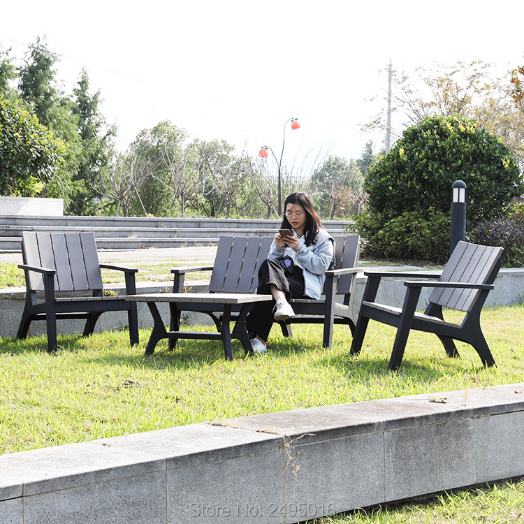 4pcs/set Hotel Outdoor Furniture Plastic Wooden Patio Garden Sofa Set All Weather ,anti UV ,good For Indoor And Outdoor Use