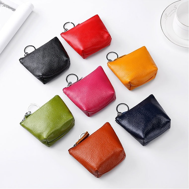 Women Coin Purses Female Cow Leather Small Wallet Lady Zipper Key Purse Portable Card Holder Girls Short Small Pouch Money Bags