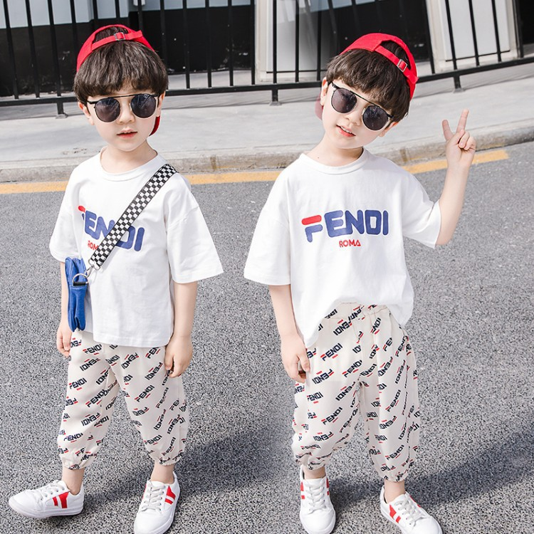 Boys' Short sleeved Suit Fashion Summer 2019 New Style Children Handsome Casual Two Piece Set Loose Baby Sports Korean style on AliExpress
