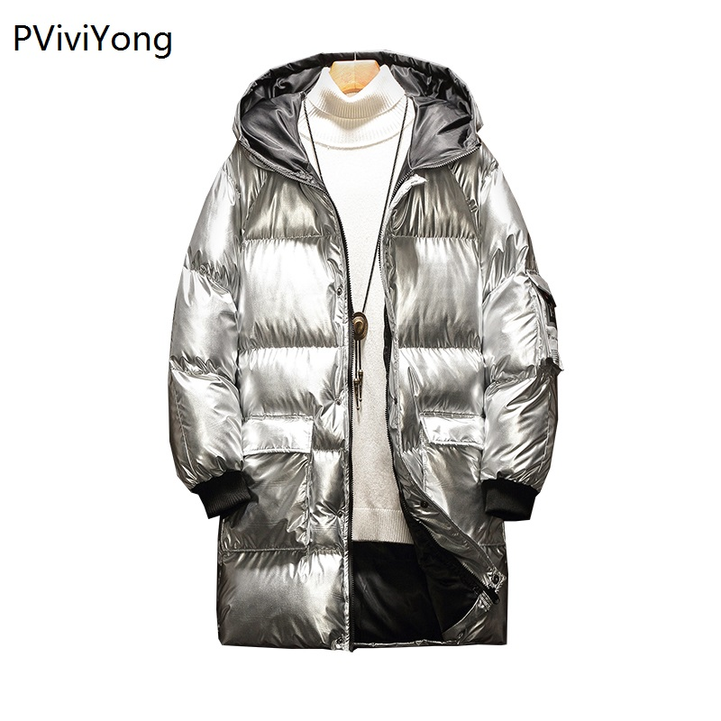 PViviYong 2019 Winter Jacket Men Fashion Male Hooded Coat Jackets Men  High Quality Cotton Long Coat Men Clothes Bread Parka 948
