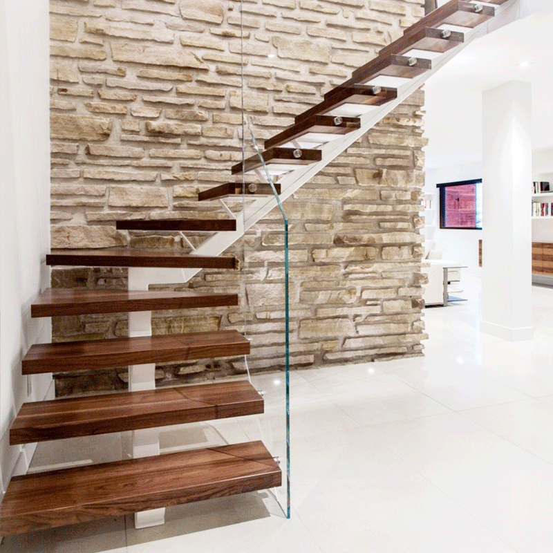 Cheap Price Mono Stringer Carbon Steel Wood Open Riser Winder | Steel And Wood Staircase | Glass | Custom | Handrail | Contemporary | Inside