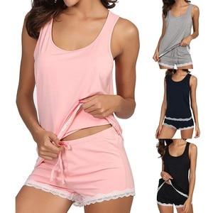 Women Clothes For Summer Shorts Sets V-Neck Sleepwear Cotton Pajama Women's Pajamas Bamboo Tank And Shorts Set Lingerie Mujer