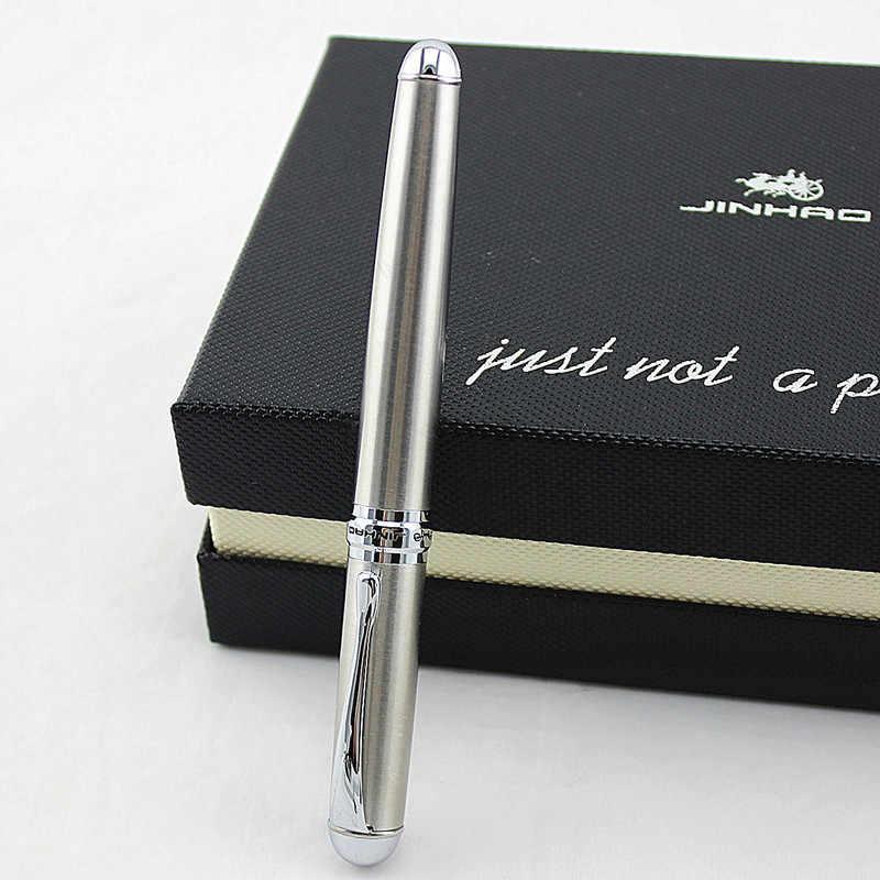 Jinhao X750 Aço Inoxidável 18KGP Prata Médio Nib Fountain Pen Nova