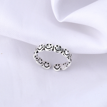 Vintage Ancient Silver Color face ring Happy Smiling Face Open Rings for Women Punk Hip Hop Adjustable Ring Fashion Jewelry Gift