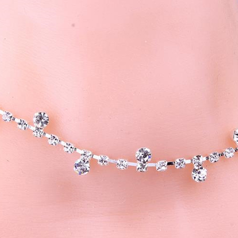 1 Pcs Silver Crystal Anklet Inlaid Exquisite Versatile Anklet Rhinestone Bracelet Wedding Dress Women 39 s Jewelry Gift in Anklets from Jewelry amp Accessories