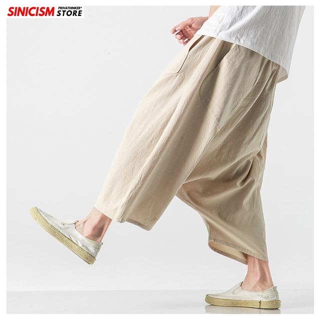 Sinicism Store Men Solid Summer Cross Pants Mens 2020 Japanese Wide Leg Trousers Male Linen Chinese Style Pants Clothing 5XL 17