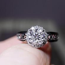 100 prawdziwe S925 srebro kolor pierścień dla kobiet naturalny diament kamień Bizuteria srebro 925 biżuteria Bague Diamant pudełko na pierścionek tanie tanio HOYON Brak CN (pochodzenie) Kobiety Diamond Okrągły kształt Niewidoczne ustawienie CYRKON GDTC S925 sliver ring jewelry for women