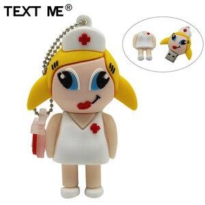 Image 1 - TEXT ME  mew style cartoon nurse model usb2.0 4GB 8GB 16GB 32GB 64GB pen drive USB Flash Drive creative Pendrive