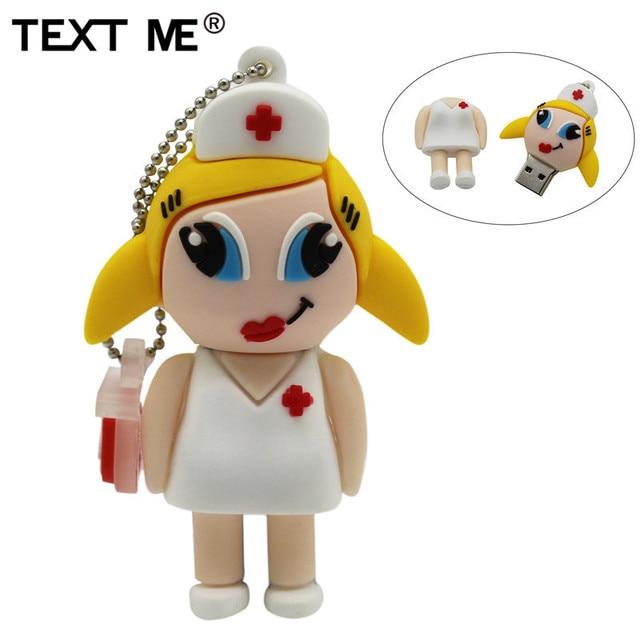 Tekst mi nowy styl cartoon pielęgniarka model usb2.0 4GB 8GB 16GB 32GB 64GB pen drive pamięć USB kreatywny Pendrive