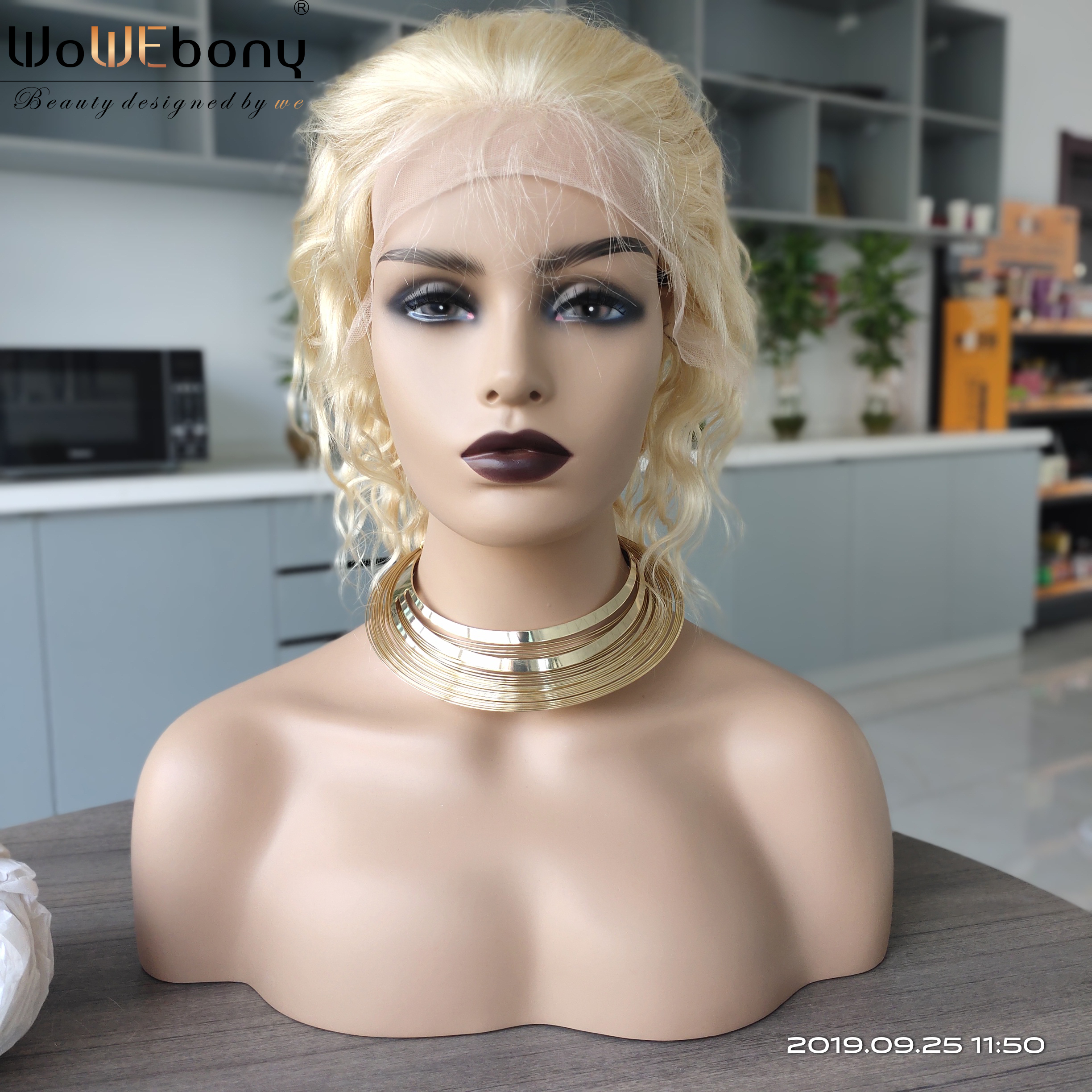 Image 2 - 613 Blonde Lace Front Wig Deep Body Wave Ombre Human Hair Wig Brazilian Remy Pre Plucked 13x4 Transparent Lace Wigs 150% Density-in Human Hair Lace Wigs from Hair Extensions & Wigs