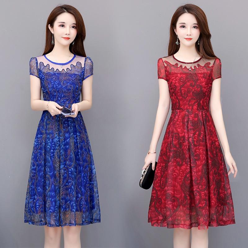 Shinhan Elegant Ya Zhong Years Mom Chiffon Dress 30-40-Year-Old Summer WOMEN'S Dress 50 Short Sleeve Decoration Body Medium-leng