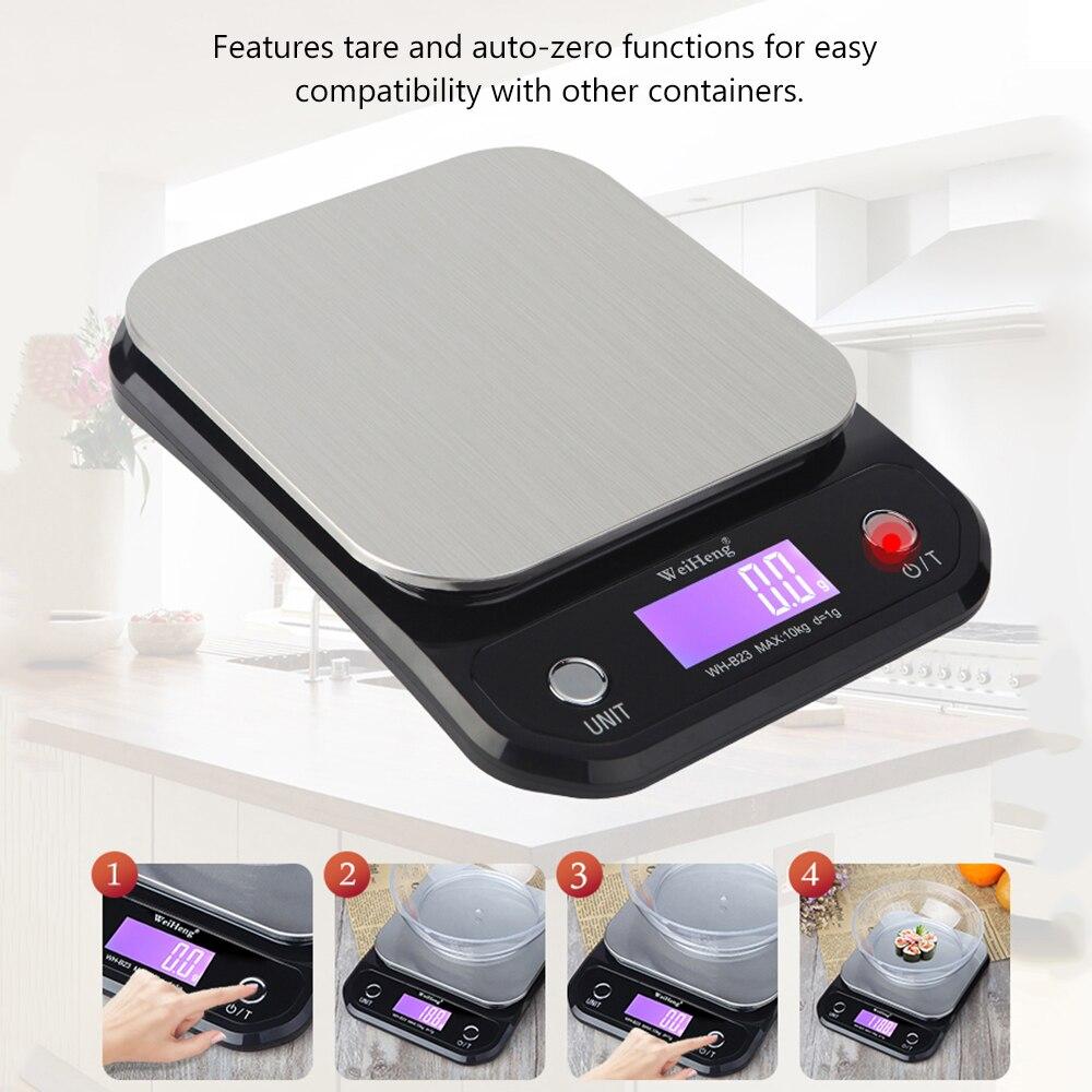 WeiHeng Balance de cuisine numérique Balance de cuisson alimentaire 10 kg/1g avec rétro-éclairage LCD grammes/once cuisine Scal 10kg Balance de poids
