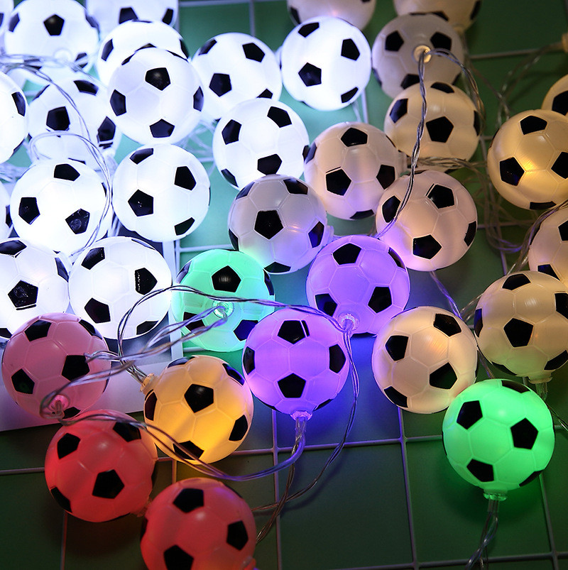 Cadena de luces de 10 LEDs de fútbol accesorios de fútbol atmósfera para Bar decoración Fiesta Club Fans suministros Copa del Mundo