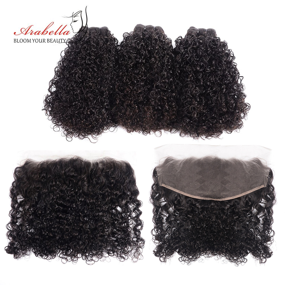 Curly Hair Bundles With Frontal 100%  Arabella  Hair Natural Color Pre Plucked 13*4 Lace Frontal With Bundles 1