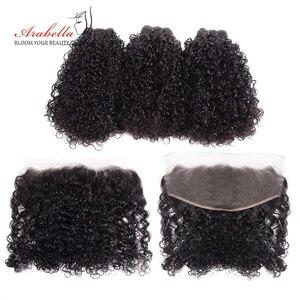 Pacotes de cabelo encaracolado com frontal 100% cabelo humano arabella remy cabelo cor natural pré arrancado 13*4 rendas frontal com pacotes