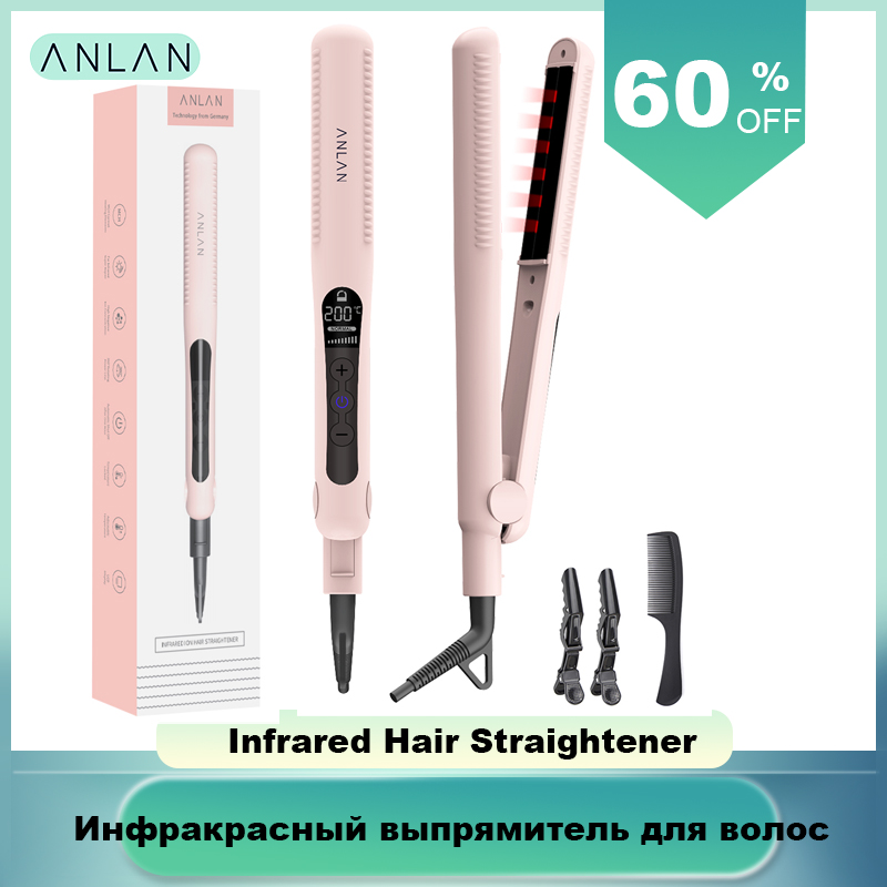 ANLAN Professional Infrared Hair Straightener Negative Ionic Hair Straightener Ceramic Flat Irons Fast Hair Straightening Iron