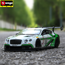 Bburago 1:24 Bentley Continental GT3 track version Convertible alloy car model simulation car decoration collection gift toy машины bburago машина для сборки bentley continental supersports convrtible isr
