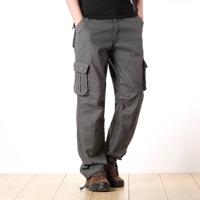 Men Overalls Cargo Pants Casual Cotton Multi Pockets Military Tactical Pants Combat Baggy Male Sweatpants Straight Trousers