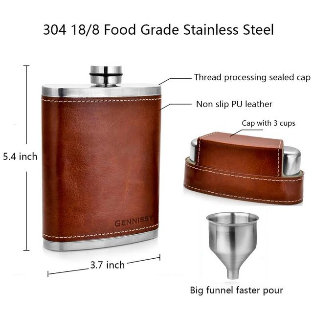 Leather Covered Hip Flask + 3 Stainless Caps 4