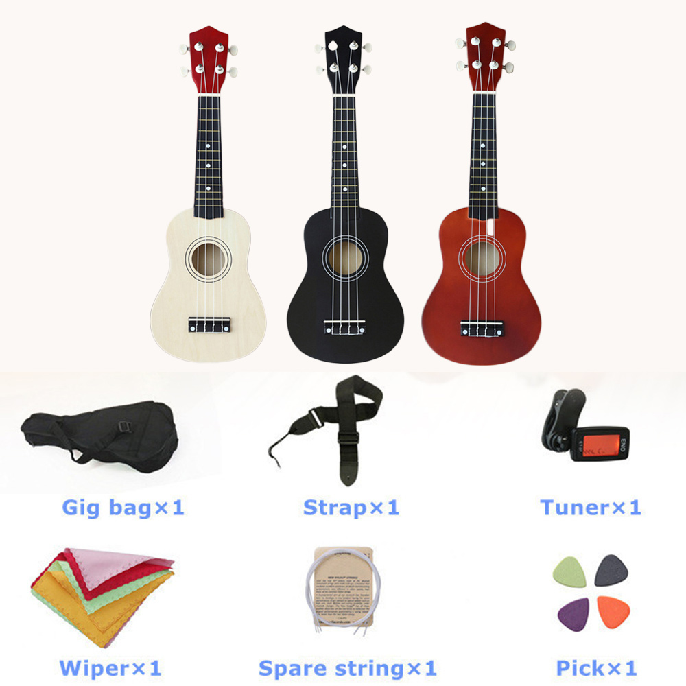 Ukulele Musical Instruments Guitar Professional Fashion 21 Inch All in One 1 Set New Year Gift Practice Starter Toys Wooden image