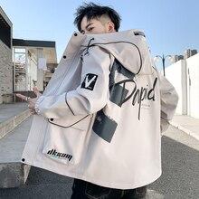 Jacket Mens Coat Windbreaker Streetwear Fashion Hooded-Cargo Plus-Size Casual Hip-Hop