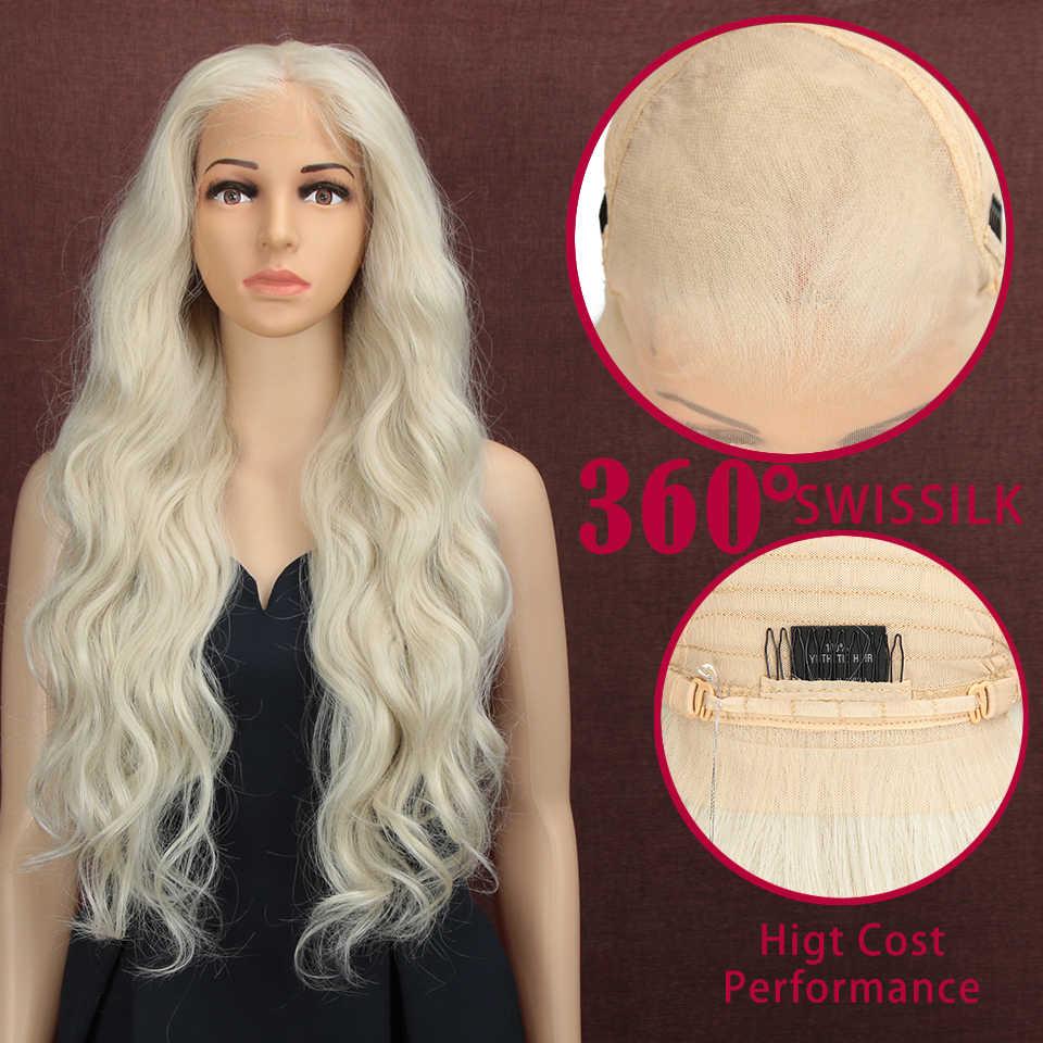 Magic 28 inç el bağladılar 360 ışık beyaz renk ücretsiz bölüm Futura Fiber saç peruk uzun isıya dayanıklı sentetik dantel ön peruk