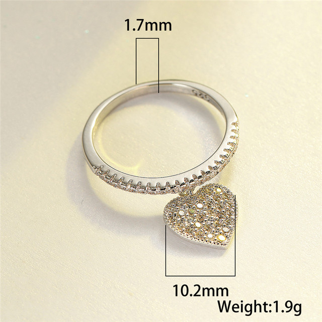 Cute Heart Pendant White Zircon Rings For Women Yellow Gold/White Gold/Rose Gold Engagement Promise Ring Female Wedding Jewelry 4