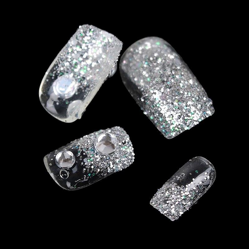 Useful 24pcs 3D Rhinestone Glitters Bling Decoration Long Fake False Acrylic Sticker Nail Tip With Glue Noble Manicure