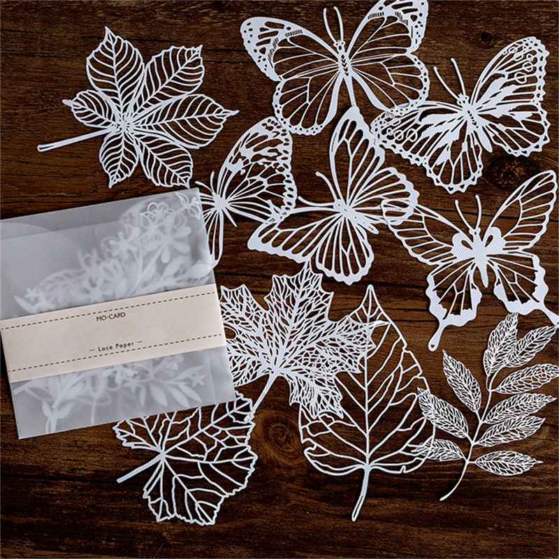 Naifumodo Lace Paper Hollow Tableware Decoration Packaging Pattern Round Windowed Square Door Scrapbook Paper New 2019