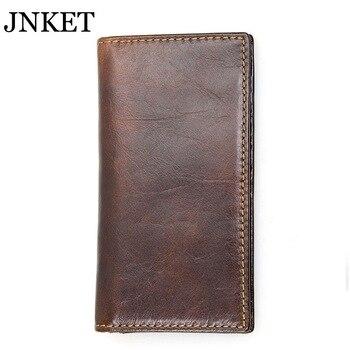 JNKET Retro RFID Wallet Men's Long Wallet Cow Leather Clutch Wallet Billfold Multi-card Wallet Card Holder Wallet фото