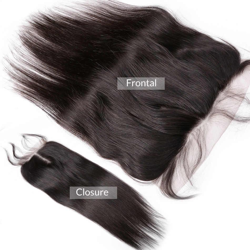 Links бразильские вплетаемые волосы 3 4 пряди с фронтальной кружевной застежкой 28 30 дюймов прямые 8-40 дюймов remy Волосы для наращивания
