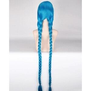 Image 4 - Парик для косплея HAIRJOY Lol Jinx длиной 100 см, синий с двойными косами, парик для костюма на Хэллоуин из термостойких синтетических волос