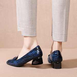 Image 4 - Krazing Pot print genuine leather fashion metal decorations pointed toe med heels slip on loafers leisure daily wear pumps L83