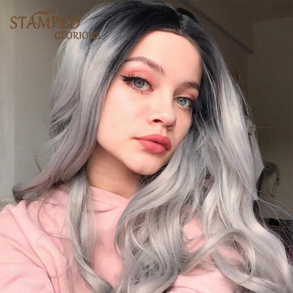 Stamped Glorious Women's Wigs Long Ombre Silver Synthetic Wig Middle Part High Temperature Fiber Straight Cosplay Wig