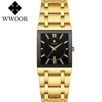 WWOOR-reloj negro dorado de lujo para mujer, de cuarzo cuadrado, de pulsera,...
