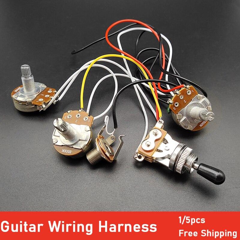 Набор жгутов проводки для электрогитары 2V1T 500K Pots Потенциометр 3 позиционный переключатель с выходным разъемом для электрогитары LP