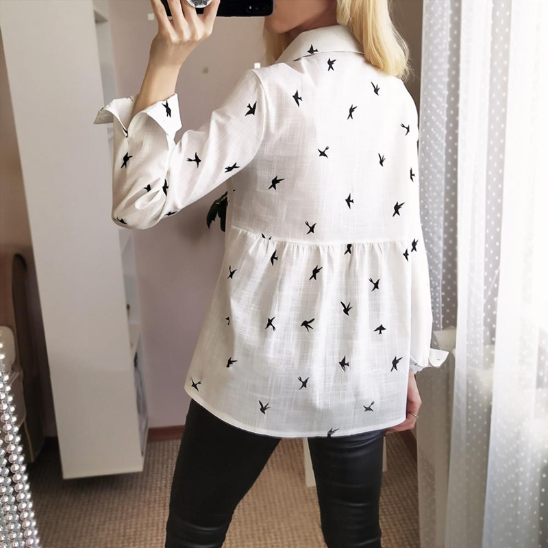 H0c634cc28a354f5a920d954466319745a - Women's Birds Print Shirts 35% Cotton Long Sleeve Female Tops Spring Summer Loose Casual Office Ladies Shirt Plus Size 5XL