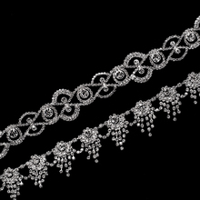 1 yard 3.5 cm Crystal Rhinestones Applique for Wedding Dress Bags DIY Crafts Sew On Silver Flatback Cusack
